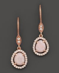 Meira T | Metallic 14k Rose Gold Opal and Diamond Drop Earrings | Lyst