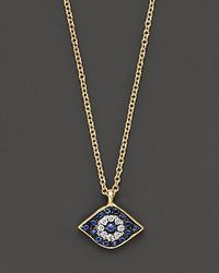Meira T | Diamond, Sapphire And 14 Kt. Yellow Gold Evil Eye Pendant Necklace | Lyst