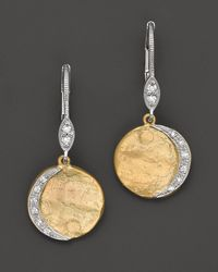 Meira T | Metallic 14k Yellow Gold Drop Earrings with Diamonds 09 Ct Tw | Lyst