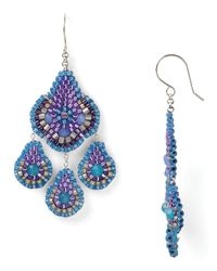 Miguel Ases - Blue Quartz and Swarovski Beaded Chandelier Earrings - Lyst