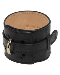 Mulberry Black Wide Leather Bracelet