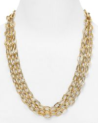 Nadri - Metallic Hammered 3 Row Toggle Necklace 24 - Lyst