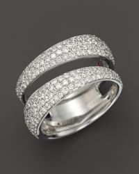 Roberto Coin | Metallic 18K White Gold Scalare Diamond Double Ring | Lyst