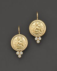 Temple St. Clair | Metallic 18k Yellow Gold Angel Earrings With Diamonds | Lyst