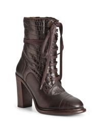 UGG | Brown Lace Up Boots Pierra High Heel | Lyst