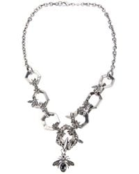 Alexander McQueen - Metallic Hexagon and Bee Skull Necklace - Lyst