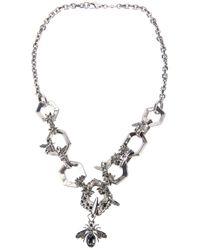 Alexander McQueen | Metallic Hexagon and Bee Skull Necklace | Lyst