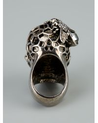 Alexander McQueen   Metallic Honeycombed Skull Ring for Men   Lyst