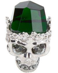 Alexander McQueen - Green Skull Ring - Lyst