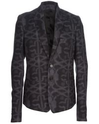 Ann Demeulemeester | Gray Patterned Blazer for Men | Lyst