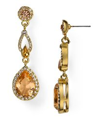 Carolee - Metallic Tea Cup Florals Glass Pearl Drop Earrings - Lyst