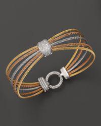 "Charriol - Multicolor ""Classique"" Multi-Row Tri Color Bracelet With Diamonds - Lyst"