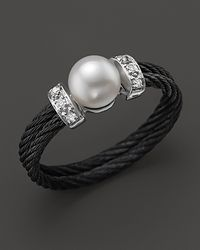 Charriol | White Celtic Noir Ring with Cultured Freshwater Pearl and Diamonds | Lyst
