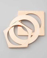Eddie Borgo - Pink Set Of 3 Geometric Bangles Rose Golden - Lyst