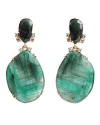 Federica Rettore | Green Emerald And Diamond Drop Earrings | Lyst