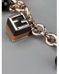 Fendi - Metallic Cube Charm Bracelet - Lyst