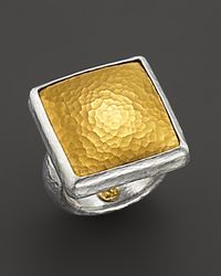 Gurhan | Metallic Pure Silver and 24 Kt Gold Square Amulet Ring | Lyst