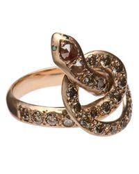 Ileana Makri - Metallic 'berus' Diamond Coiled Snake Ring - Lyst