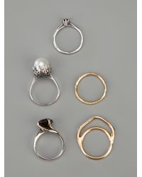 Iosselliani - White Stack Rings Set with Pearl - Lyst