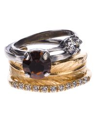 Iosselliani | Metallic Stack Feather Ring Set | Lyst