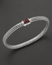 John Hardy - Metallic Classic Chain Silver Lava Extra-Small Chain Bracelet With Red Sapphire Clasp - Lyst
