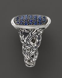 John Hardy - Metallic Classic Chain Silver Lava Large Cushion Woven Shank Ring With Blue Sapphires - Lyst