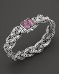 John Hardy | Metallic Classic Chain Silver Medium Braided Chain Bracelet With Pink Sapphires | Lyst