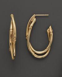 John Hardy - Yellow Bamboo 18K Gold Medium Twist Hoop Earrings - Lyst