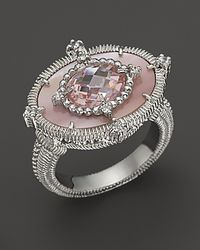 Judith Ripka - Metallic Horizontal Oasis Ring With Pink Mother-Of-Pearl, Pink Crystal And White Sapphires - Lyst