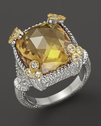 Judith Ripka | Metallic Small Monaco Ring with Canary Crystal | Lyst