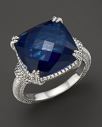 Judith Ripka | Metallic Sterling Silver Cushion Stone Ring with Labcreated Blue Corundum | Lyst
