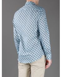 KENZO - Blue Shark Print Shirt for Men - Lyst