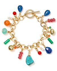 Lauren by Ralph Lauren - Multicolor Textured Link Bead Charm Bracelet - Lyst