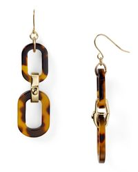 Lauren by Ralph Lauren | Brown Tortoise Shell Double Drop Link Earrings | Lyst