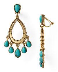 Lauren by Ralph Lauren - Metallic Stone Gypsy Hoop Clip On Earrings - Lyst