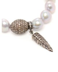 Loree Rodkin - White Pearl and Diamond Charm Bracelet - Lyst