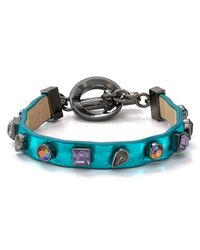 Marc By Marc Jacobs - Blue Jeweled Leather Bracelet - Lyst