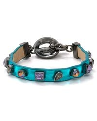 Marc By Marc Jacobs | Blue Jeweled Leather Bracelet | Lyst
