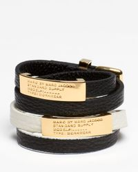 Marc By Marc Jacobs - White Standard Supply Double Wrap Leather Bracelet - Lyst