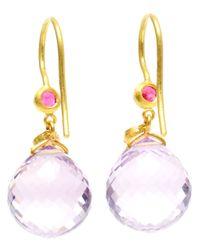 Marie-hélène De Taillac - Moon Star 18k Yellow Gold Amethyst Earrings - Lyst