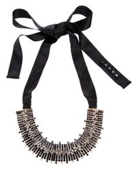 Marni - Black Moonstone Embellished Ribbon Tie Necklace - Lyst