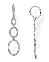 Nadri - Metallic Fine Pave Triple Drop Rhodium Earrings - Lyst