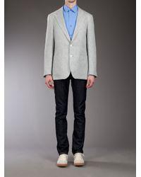 Paul Smith - Gray Top Stitch Linen Blazer for Men - Lyst