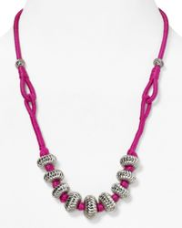 Rebecca Minkoff - Metallic Thread Wrapped Bali Bead Friendship Necklace 16 - Lyst