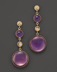 Roberto Coin - 18k Yellow Gold Diamond and Purple Enamel Small Earrings - Lyst