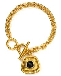 T Tahari - Metallic Hammered Gold Black Charm Toggle Bracelet - Lyst