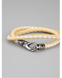 Tod's - Yellow Braided Leather Bracelet for Men - Lyst