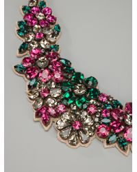 Valentino - Purple Floral Crystal Necklace - Lyst