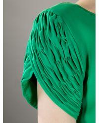 Valentino - Green Pleated Sleeve Dress - Lyst