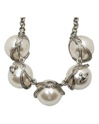 Vivienne Westwood - White Grosgrain Giant Pearl Necklace - Lyst